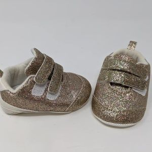 Gold Sparkle Baby Crib Shoes